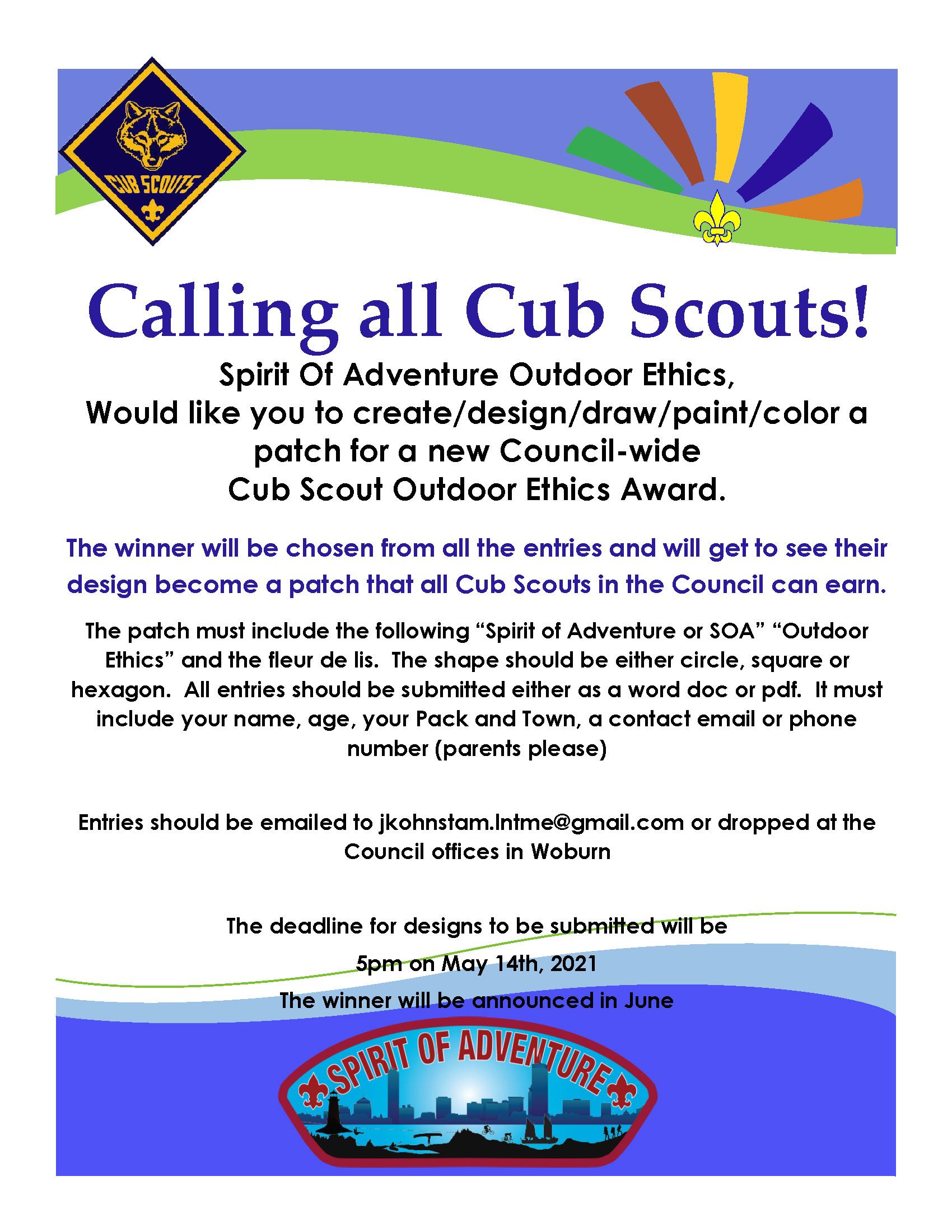 Cub Scout OE patch design comp